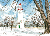 This is a watercolor of Marblehead Light House in the Winter