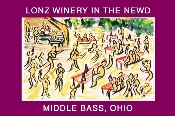 This watercolor shows Lonz Winery on a Saturday afternoon.