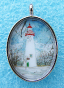 Marblehead Lighthouse in Winter Necklace